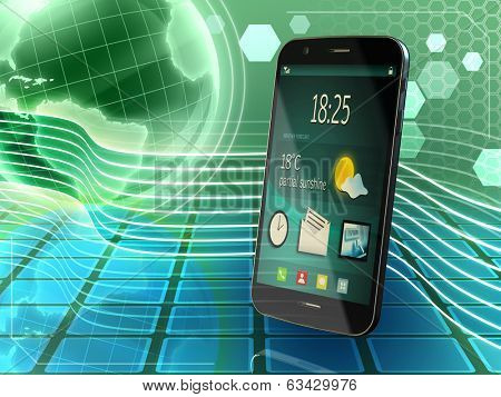 Generic smartphone over an high technology background. Digital illustration.