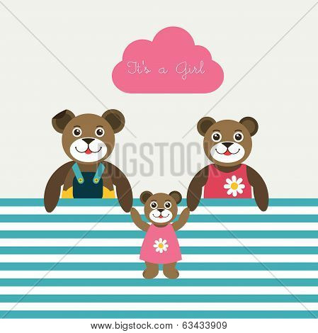 New born baby paper card. Modern color flat design. Vector background illustration.Happy teddy bear