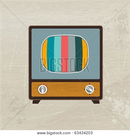 Retro fashion wood television. Vector illustration.
