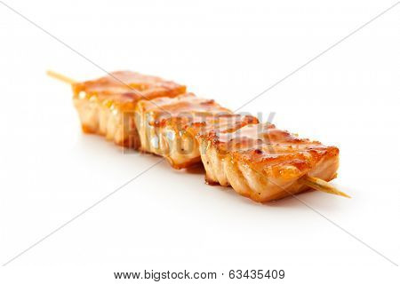 Grilled Salmon isolated over White