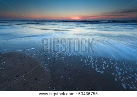 North Sea Beach In Dusk