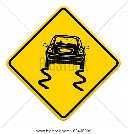 Yellow Slippery Road Sign, Isolated On White Background,