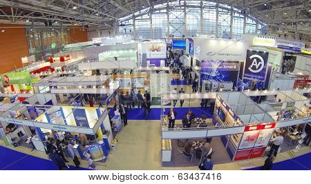 MOSCOW, RUSSIA - DEC 4, 2013: (aerial view) Exhibition Electrical Networks of Russia - 2013 in exhibition center MosExpo (VVC).