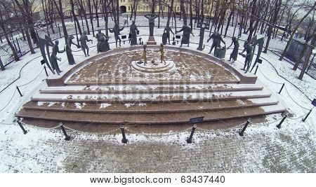MOSCOW, RUSSIA - DEC 1, 2013: (aerial view) Monument Children - victims of adult vices was opened in 2001 by Mikhail Shemyakin.