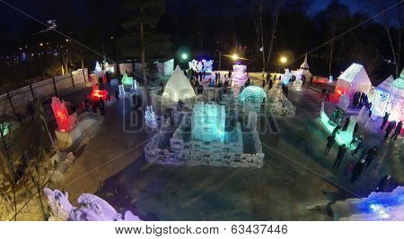 MOSCOW, RUSSIA - JAN 1, 2014: (aerial view) Ice town in Sokolniki Park at night.
