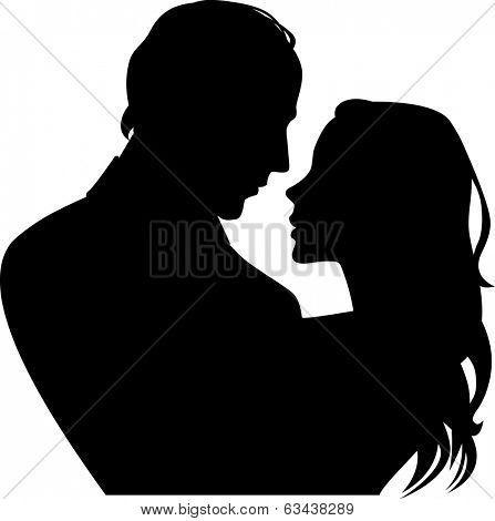 silhouette of woman and man in profile