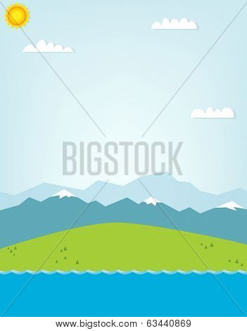 mountain landscape. cutout illustration