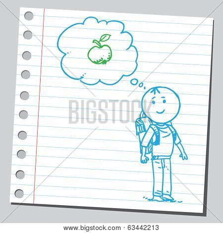 Schoolkid think about an apple