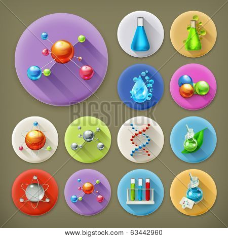 Science, tubes and molecules long shadow icon set