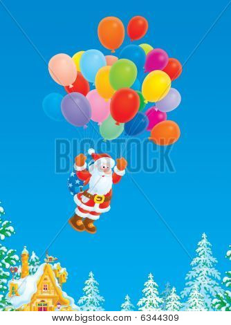 Santa Claus flying with multicolor balloons