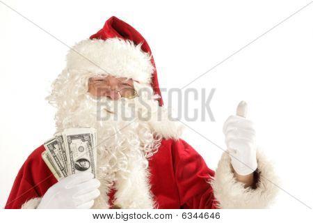 Santa claus with cash