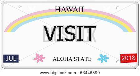 Visit Hawaii License Plate