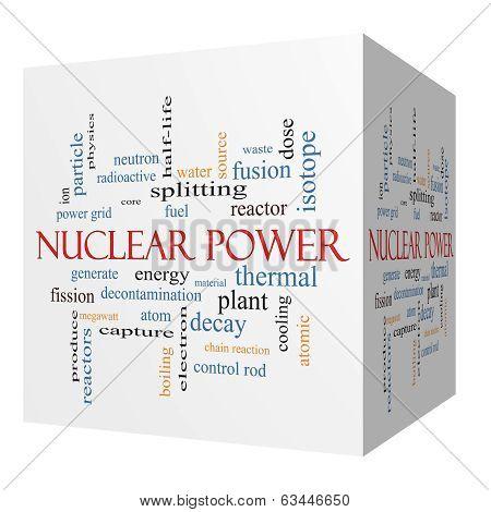 Nuclear Power 3D Cube Word Cloud Concept