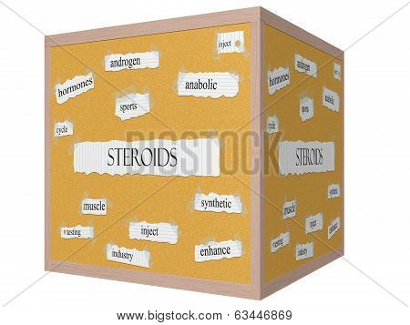 Steroids 3D Cube Corkboard Word Concept