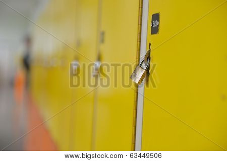 High School hallway showing yellow student lockers