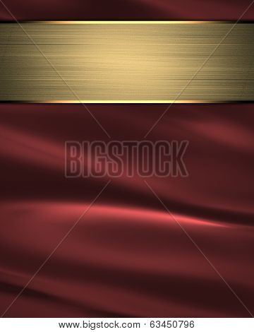Waves Of Red Satin Fabric As Background With Gold Plate