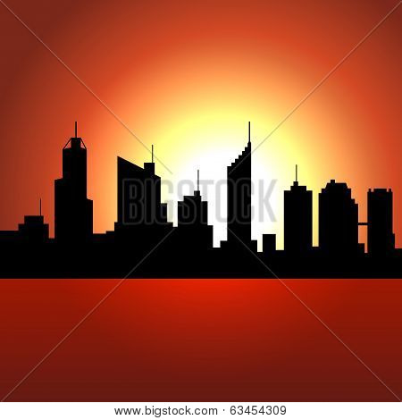 Sunset over City Skyscrappers. Vector Silhouette