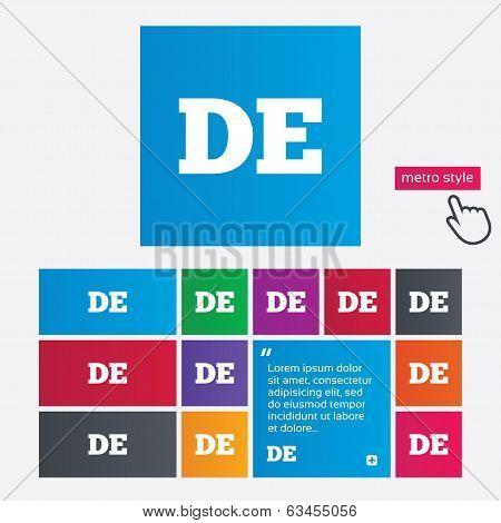 German language sign icon. DE Deutschland.