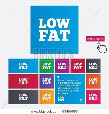 Low fat sign icon. Salt, sugar food symbol.