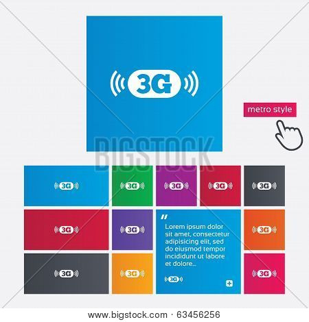 3G sign. Mobile telecommunications technology.