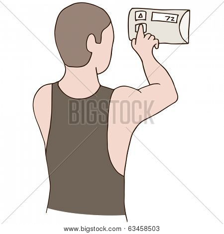An image of a man adjusting a thermostat.
