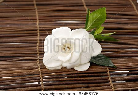Set of white gardenia bamboo mat
