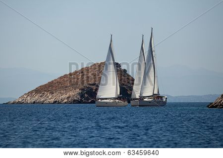 SARONIC GULF, GREECE - SEP 25, 2012: Unidentified sailors participate in sailing regatta