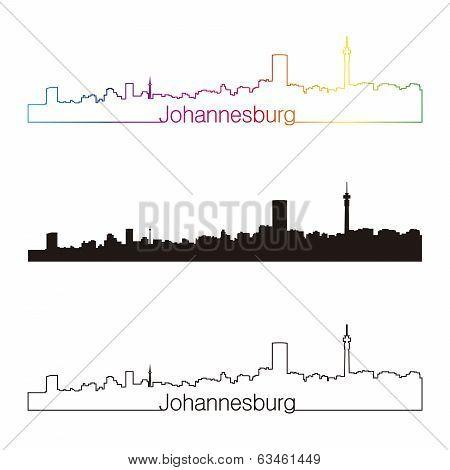Johannesburg Skyline Linear Style With Rainbow