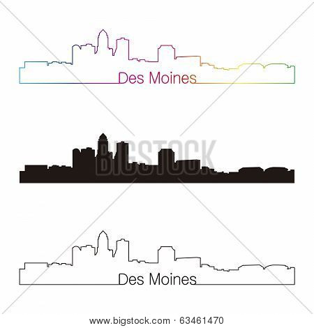 Des Moines Skyline Linear Style With Rainbow