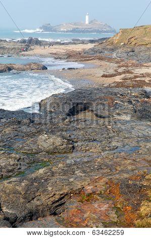 Coast at Godrevy lighthouse and island St Ives Bay Cornwall coast England UK