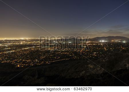 Night view of Pasadena, Glendale and downtown Los Angeles.