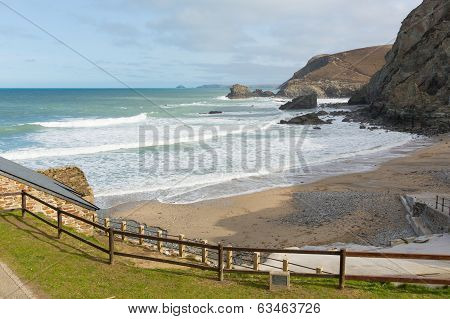 View from St Agnes beach north coast of Cornwall England United Kingdom between Newquay and St Ives