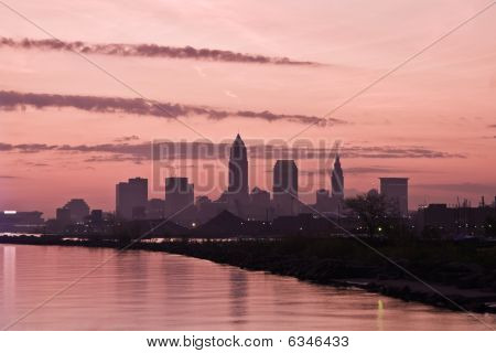 Silhouette Of Downtown Cleveland