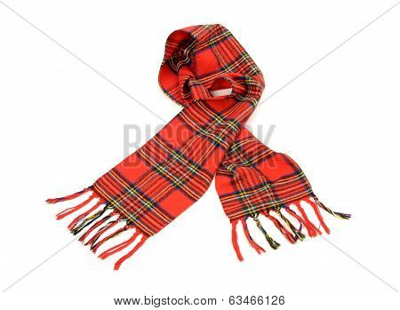 Tartan winter scarf with fringe.