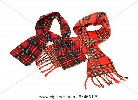 Tartan winter scarves with fringe