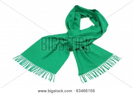 Green scarf with fringe for winter