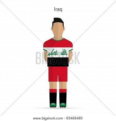 Iraq football player. Soccer uniform.