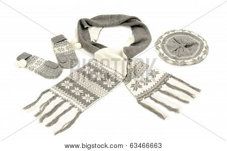Grey winter accessories isolated on white background.
