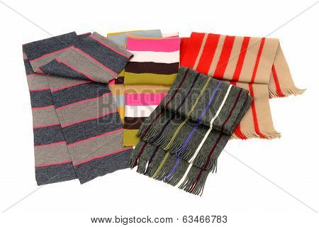 Striped winter accessories isolated on white background.