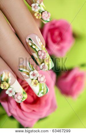 Summer acrylic roses.