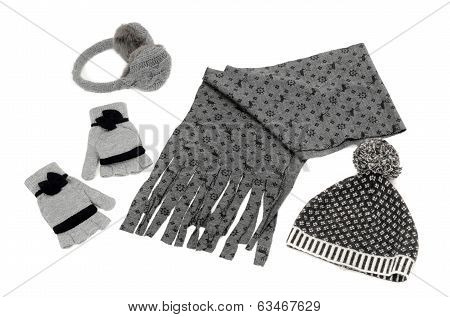 Winter accessories isolated on white background