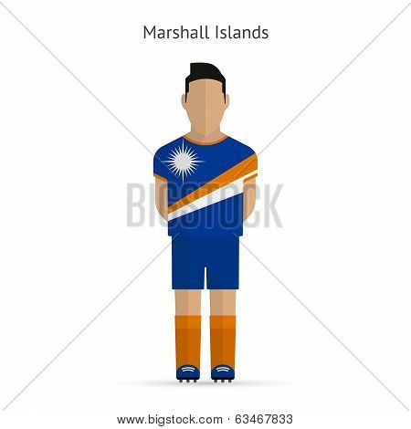 Marshall Islands football player. Soccer uniform.