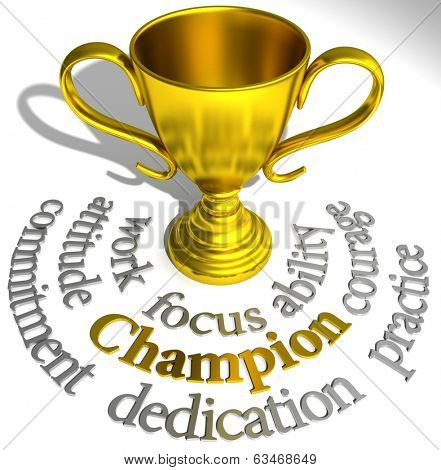 Victory trophy words are winning qualities of a champions success