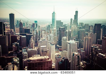 Chicago Skyline Aerial View poster