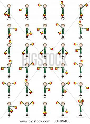 Two-flag Semaphore Signals