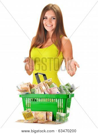 Young Woman With Plastic Shopping Bag Full Of Paper Money