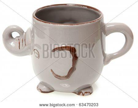 Elephant Coffee Mug Over White Side View