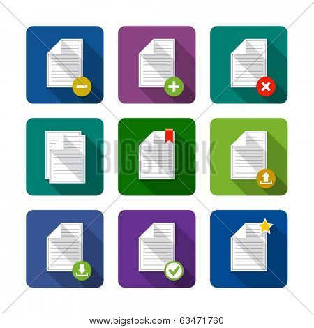 Document. Set of flat long shadow icons. Eps10 vector illustration. Isolated on white background