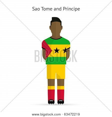 Sao Tome and Principe football player. Soccer uniform.