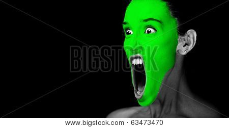 Green mask on woman face.